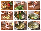 Radish and potato soup being made