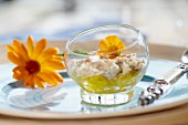 Mackerel salad with a yellow flower