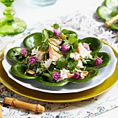 Watercress salad with salmon, clover flowers and peanuts