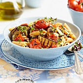 Pasta with grilled aubergine, tomatoes and wild marjoram
