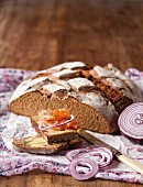Buttermilk rye bread, served with smoked salmon and red onions