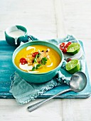 Thai Pumpink and Ginger Soup with Prawns