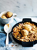 Spiced Fuji apple crumble with dulce de leche ice-cream