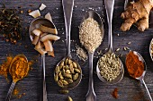 Spices, seeds and pieces of coconut on spoons