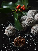 Healthy chocolate, coconut & dried fruit balls