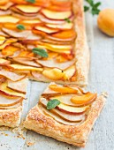 A fruit tart with slices of pear, peach, nectarine and apricot
