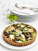 Asparagus, chard & goats' cheese tart