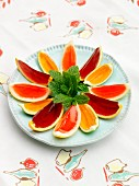 Jelly in citrus fruit wedges