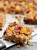 Gluten-free flapjacks with dried fruit