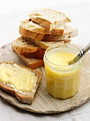 Lemon curd and slices of bread