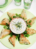Spinach & feta filo triangles