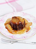 Sticky ginger pudding with pears