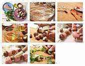 Hähnchenbrust-Spiesse mit Champignons und Chiliflocken zubereiten