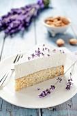 A slice of lavender cake