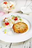 Hake patties with vegetable rice