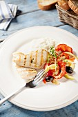 Grilled chicken breast with summer vegetables