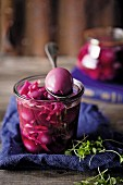 Pickled eggs with red cabbage