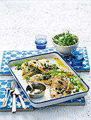 Pan-fried jacopever fillets with caper sauce