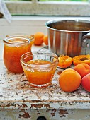 Apricot jelly in small glass dish
