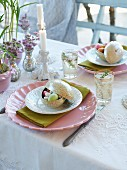 A table set for Easter with sweet treats