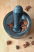 Star anise in a mortar