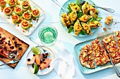 Various dishes and canapés for a summer party