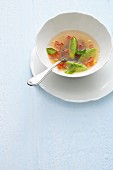 Clear tomato essence with basil & quark dumplings