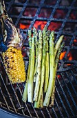 Grilled corn and green asparagus on the barbecue