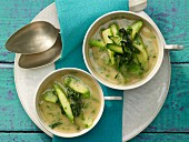Asparagus soup with beans and wild garlic