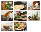 Spaghetti mit Bärlauch-Mandelpesto zubereiten