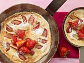 Semolina pancakes with rhubarb and strawberries