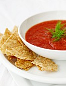 Tomato soup with tortilla chips