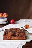 Upside Down Cake (gestürzter Rührkuchen) mit Pfirsichen