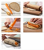 How to prepare carrots wrapped in bread