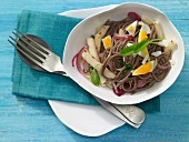 Soba noodles with May turnips, red onion and egg