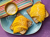 Mango toast with desiccated coconut