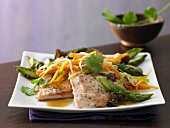 Turkey escalope with Asian asparagus and vegetables