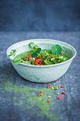 Grüne Smoothie Bowl mit Kresse, Weizengraspulver und Gojibeeren (Superfood)