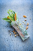 Summer superfood rolls: Rice paper rolls filled with vegetables and chia seeds