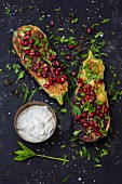 Grilled aubergines with mint and pomegranate seeds