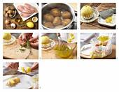 Hähnchen-Kartoffel-Spieße zubereiten