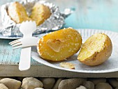 Grilled potatoes with sesame seeds