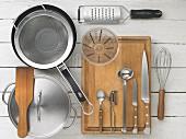 Kitchen utensils for preparing Flädlesuppe (Swabian soup made with pancake strips)