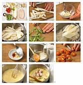How to prepare asparagus ragout with saffron sauce