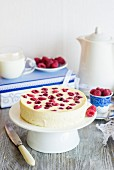 Cheesecake made with cottage cheese, sour cream and raspberries