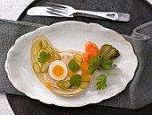 Egg and cucumber in aspic