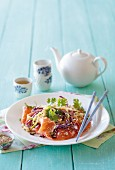 Smoked salmon with a spicy cabbage salad and coriander