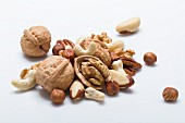 Various nuts on a white surface