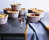 Rhubarb & apple crumble in small ramekins