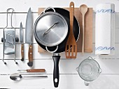 Kitchen utensils for preparing turkey breast in honey and mustard sauce